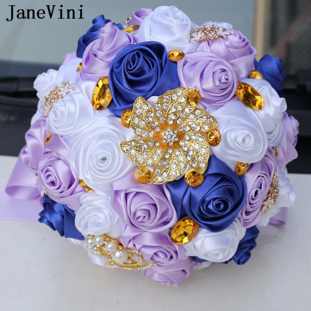 JaneVini 2019 Роскошные блестящие Кристальные Свадебные букеты цветы со стразами