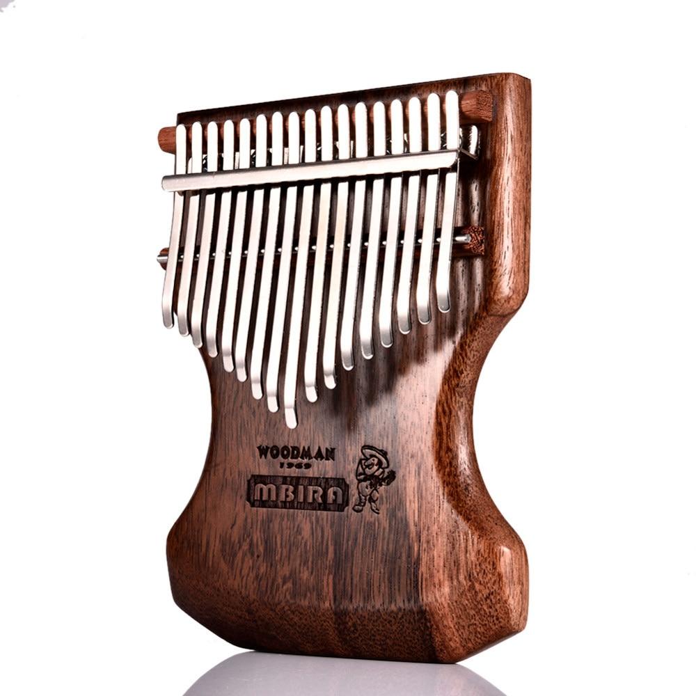 Kalimba Calimba Mbira de 17 teclas, cuerpo de sándalo negro sólido Kalimba mbra pulgar Piano con bolsa suave teclado Popular instrumento de Piano