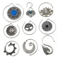 PAAR Mode Messing Tribal Indian Ohr Gewicht Stud Charming Lotus Blume Vintage Surya Hoop Spiral Ohrhänger Piercing