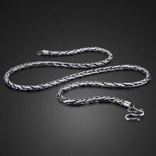 Nuevo collar de plata tailandesa 925, collar Retro de plata de viento para hombre, collar de plata maciza de 4mm56cm, colgante, joyería, regalo de cumpleaños