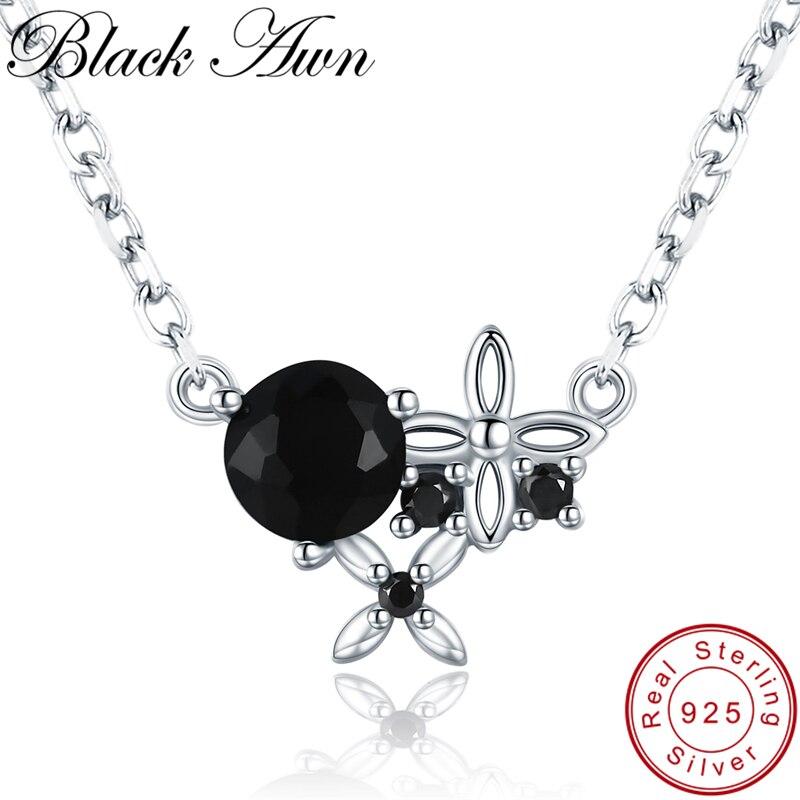 [Czarny AWN] Trendy 925 srebro naszyjnik dla kobiet kwiat czarny Spinel naszyjniki wisiorki srebro biżuteria K035