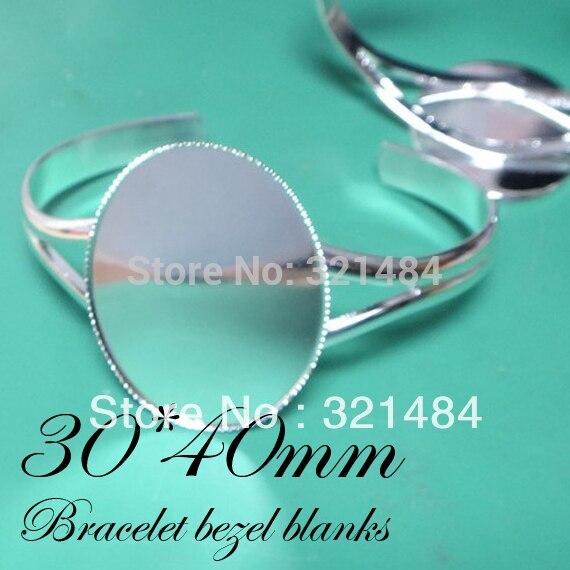 Bulk 50pcs 30*40mm Oval Bezels Cabochon settings Silver plated Cuff Bracelet Blanks