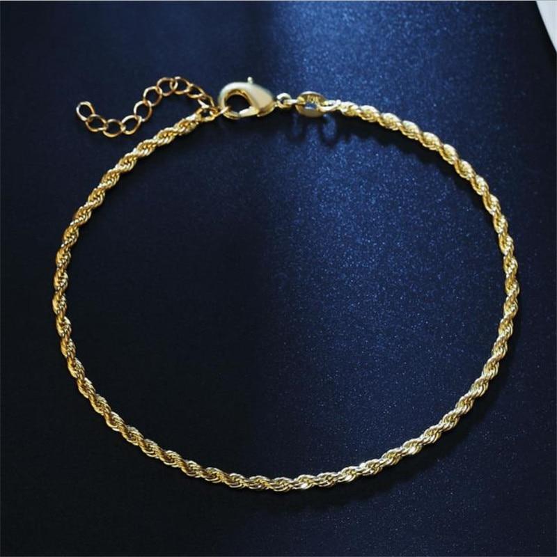 TJP, tobilleras de cadena torcida de 2MM para mujer, joyería de moda, pulseras de plata de ley 925 para niña, accesorios para fiesta de Navidad para mujer