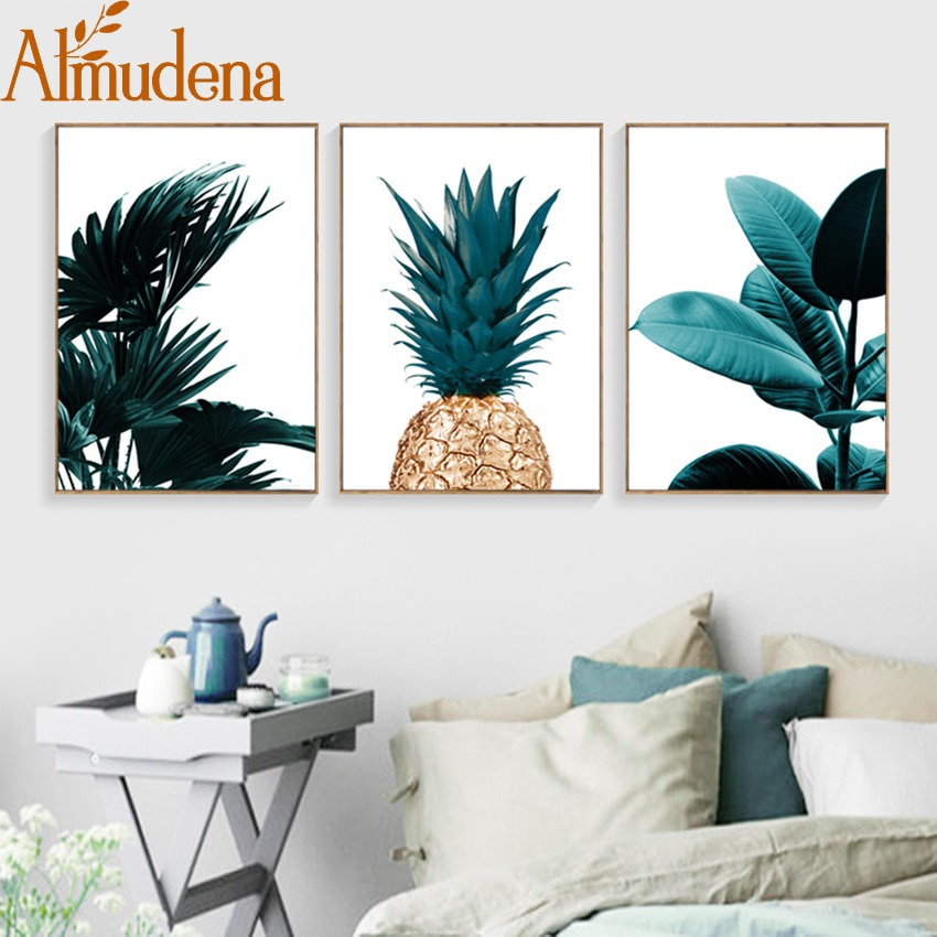 Nordic Ananas Grüne Blätter Leinwand Malerei Wand Kunst Poster Hause Dekoration Poster Und Drucke Anlage Bilder für Wohnzimmer