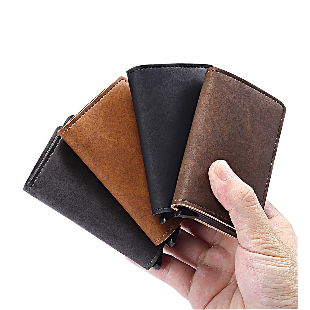 Оригинальный автоматический держатель для банковских карт, металлический держатель для банковских карт, блокирующий Алюминиевый Чехол RFID, без кнопки