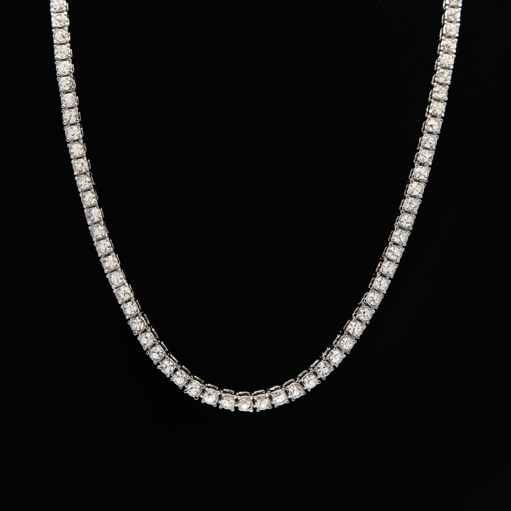 Cadena larga de cristal de lujo collares de oro plata Color tenis Collar para hombres Hiphop Power joyería accesorios Erkek Kolye
