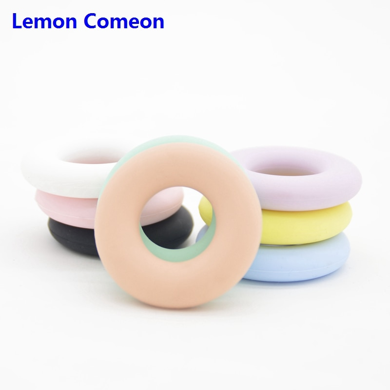 Limão comeon 42mm grânulos de silicone grau alimentício bebê dentição anéis brinquedos do bebê mordedores círculo acessórios do bebê mordida livre bpa