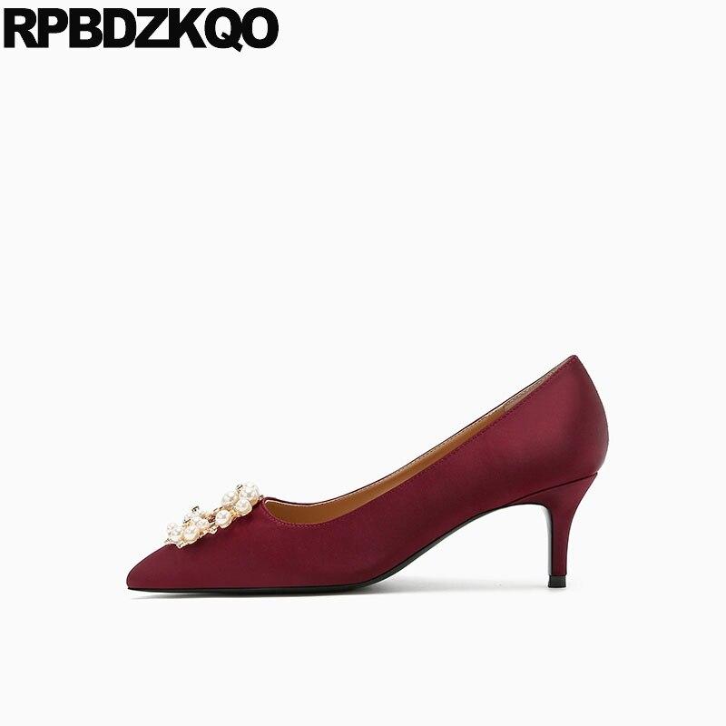 Satin Designer Low Heels Bridal Shoes Pumps Wedding Diamond Pointed Toe Thin Size 4 34 3 Inch Pearl High Wine Red Rhinestone