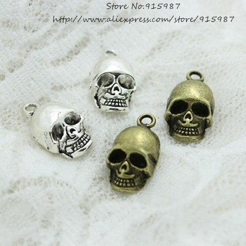 Sweet Bell 20 unids/lote 11*20mm aleación de Metal antigua 3D cráneo encantos abalorio de joyería para colgante Fit joyería haciendo encantos diy D0410