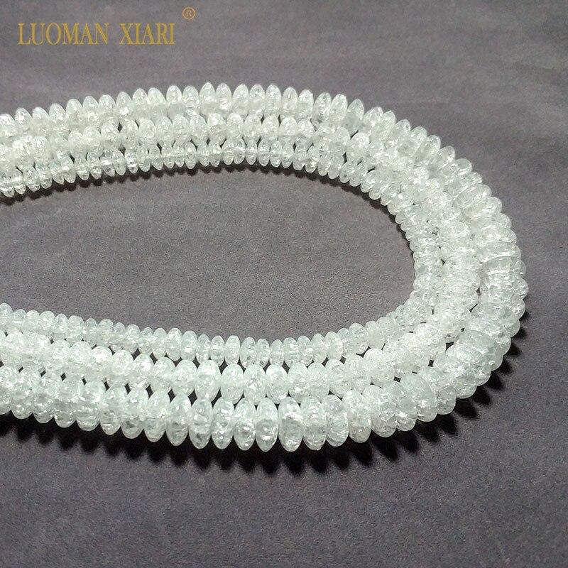 Vente en gros naturel roue forme neige fissuré cristal pierre perles pour la fabrication de bijoux bricolage Bracelet collier 4*6/5*8/6*9mm 15.5