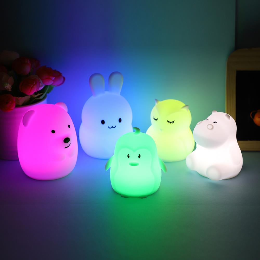Mini Animal RGB LED lámpara oso conejo hipopótamo búho pingüino luz de noche portátil de dibujos animados de silicona lámpara para niños regalo de bebé
