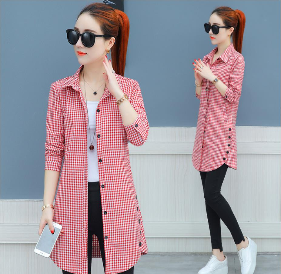 2019 spring autumn light plaid shirt female long sleeve tops new Han Fan loose autumn long shirt blouse   292019