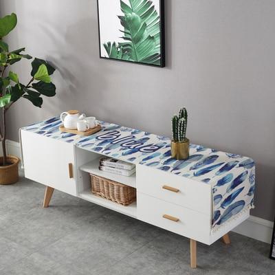 مفرش طاولة من القطن والكتان مع علم أزرق مقاوم للغبار ، غطاء خزانة تلفزيون ، ديكور غرفة المعيشة ، مفرش طاولة قابل للتخصيص