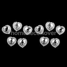 10pcs Crystal Diamante Heart Button Flatback Wedding Favors Craft Decor 30mm