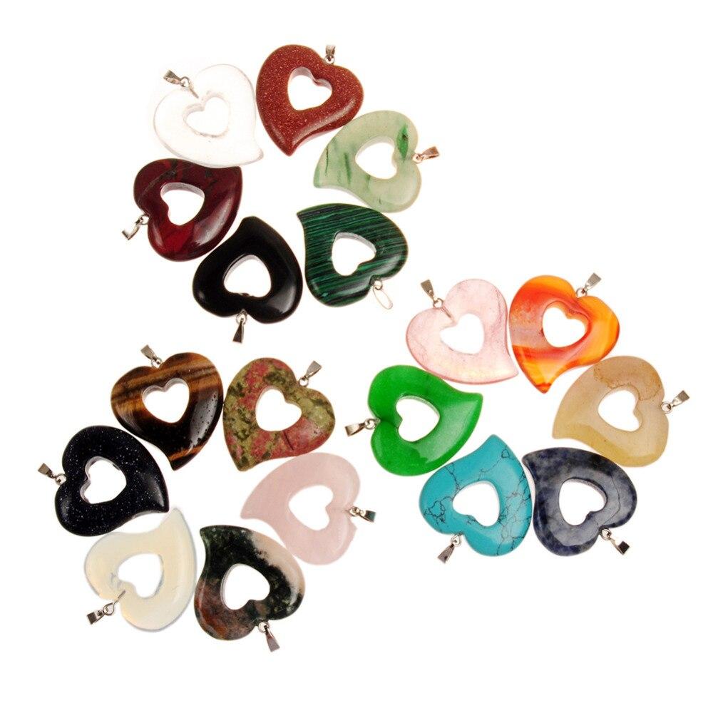 Mieszane kolor moda naturalny kamień zawieszki Charms podwójne serce opal tygrysie oko różowy Malay kwarcowy Onyx dla diy biżuteria