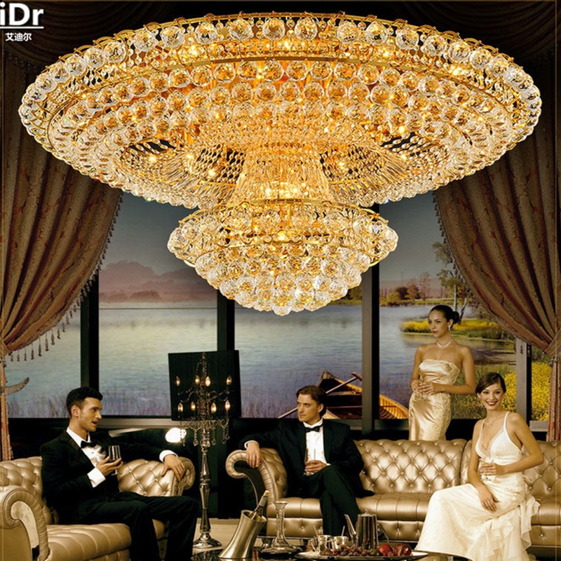 Circular golden living room atmosphere Lobby Restaurant Crystal Luxury Hotel Dia1000mm Ceiling Lights Luxury lamp  - buy with discount