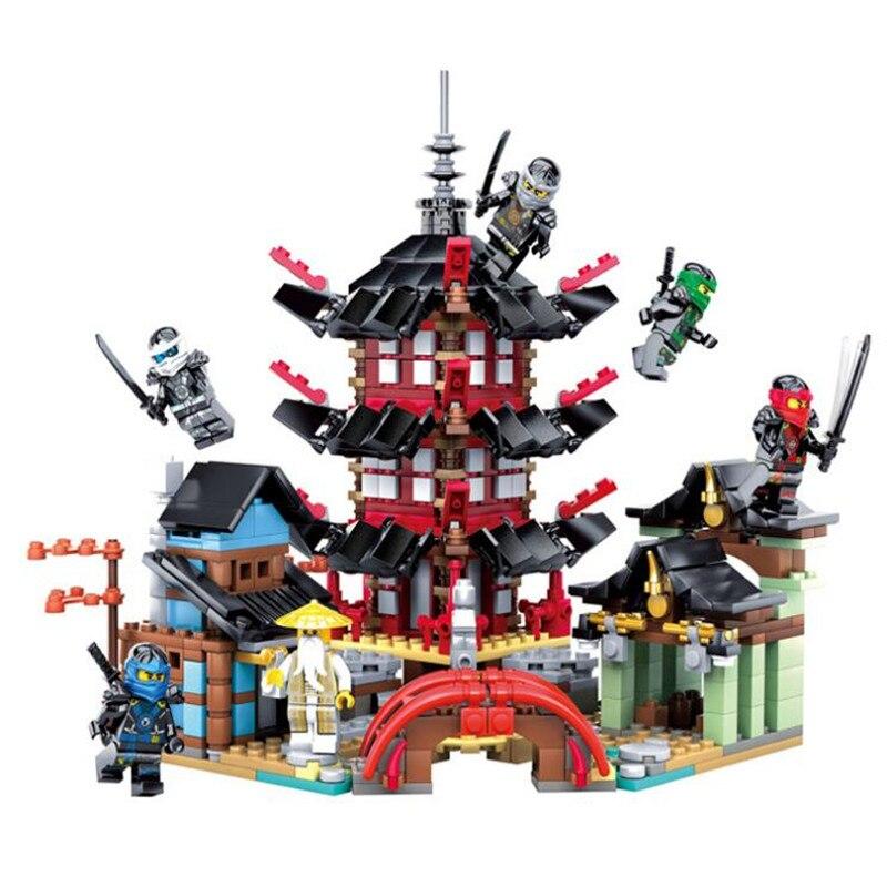 737 Uds. Compatible Lepining templo Ninja de Airjitzu versión juguete de bloques de construcción Kit DIY educativo niños regalos de cumpleaños