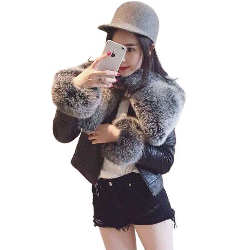 2018 Rushed Real Full Zipper Jaqueta De Couro Women's Leather Jacket Imitation Fox Fur Collar Locomotive Pu Detachable Woman enlarge