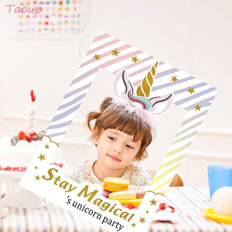 Taoup, 1 unidad, Unicornio de mano, accesorios de Photobooth, regalo de cumpleaños para niños, Unicornio, fiesta, favores, suministros de decoración de Unicornio, cabina de fotos