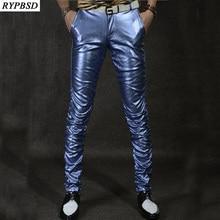 2020 New Leather Mens Pants PU Leather Men Pants Velvet Slim Multi Color Fashion Casual Performance Leather Trousers Men