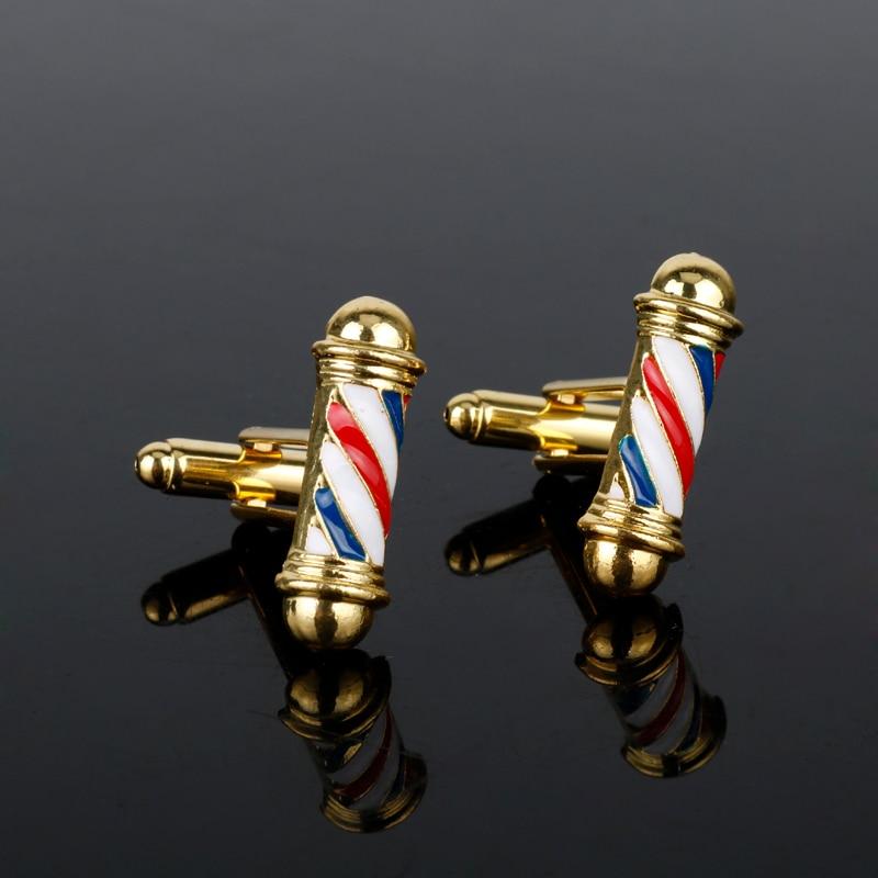 Gemelos de poste de barbería de moda gemelos de poste 3D hombres camisa puño con botones joyería Hip Hop gótico corbata Clip gemelos fiesta regalo