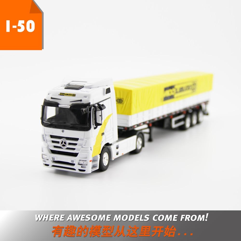 Juguete de aleación, modelo regalo a escala 150, MERCEDES-BENZ transporte de grano, camiones, vehículos con neumático Dunlop para decoración de colección