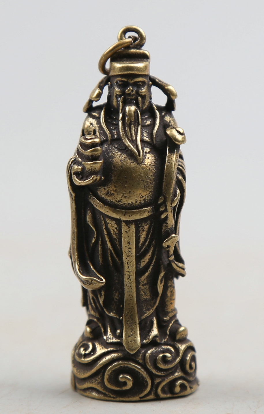 "56MM/2,2 ""recoger Curio raro BRONCE DE Fengshui chino exquisito Ruyi Yuen Bo Mammon riqueza monetaria Dios colgante estatua 28g"