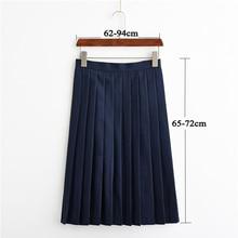 UPHYD nouveau uniforme scolaire jupe longue marin jupes plissées réglable taille haute femme moyenne jupe longue 3XL