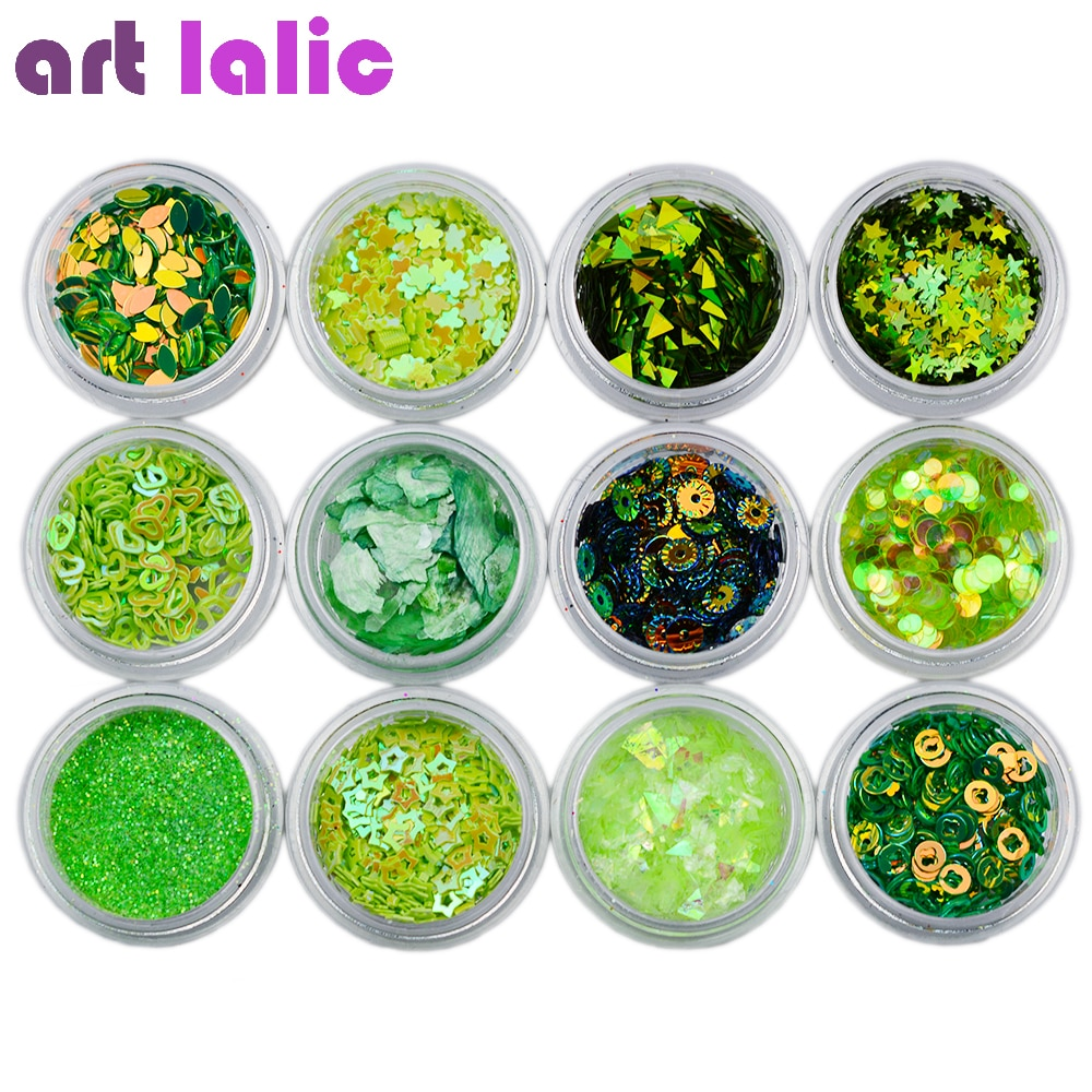 12Pcs Laser Verde Unghie artistiche Glitter Paillettes Acrilico Tips Gel UV Smalto Ologramma Per Manicure Punte Strumenti di Decorazione