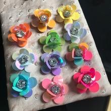 Patchs appliques de fleurs 10 pièces/lot   Perles de paillettes faites à la main, pince à cheveux, sacs, broche, vêtements cousus sur accessoires de bricolage