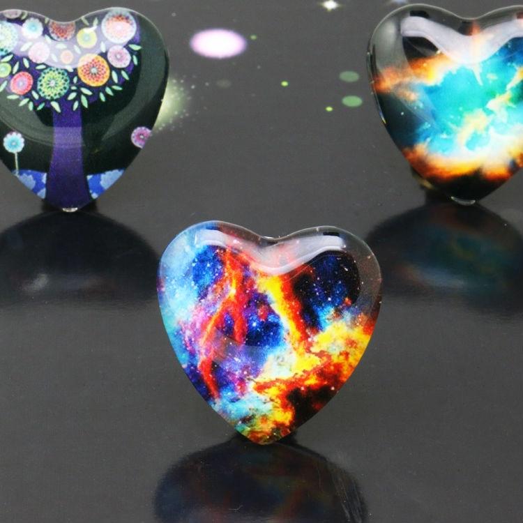 10pcs/lot 25mm Starry Sky Peach heart Handmade Photo Glass Cabochons&Glass Dome Cover Pendant Cameo Settings 2020 hot sale new fashion 5pcs lot 25mm handmade photo glass cabochons
