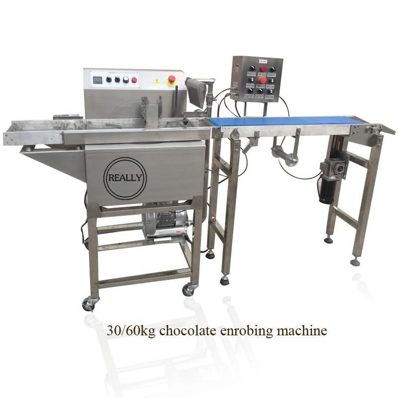 Máquina de enrober de chocolate con 30/60 kg, envío por mar