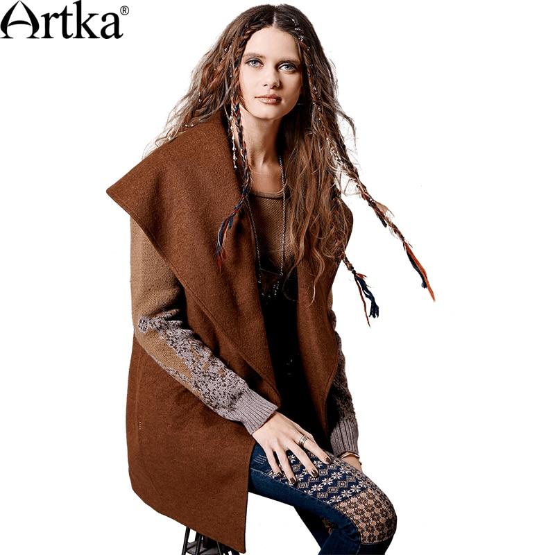 ARTKA женское осенне-зимнее новое шерстяное пальто в стиле пэчворк винтажное вязаное пальто с отложным воротником с рукавами FA11363Q пальто на о...