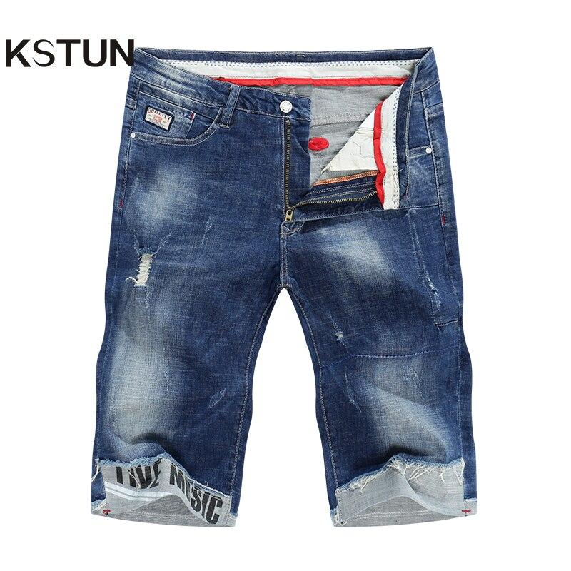 KSTUN Shorts Jeans dos homens calças de Brim 2019 Verão Fina Super Stretch Azul Rasgado Biker Magro Calça Jeans Homens Magros Punhos Masculino vaqueros Hombre