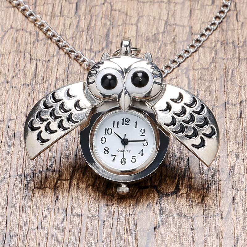 Cute plata bronce Vintage noche colgante de collar de búho cuarzo reloj de bolsillo collar P26