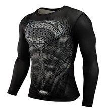 NEW 2019 Superman Punisher Rashgard Running Shirt Men T-shirt Long Sleeve Compression Shirts Gym T-shirt Fitness Sport Shirt Men