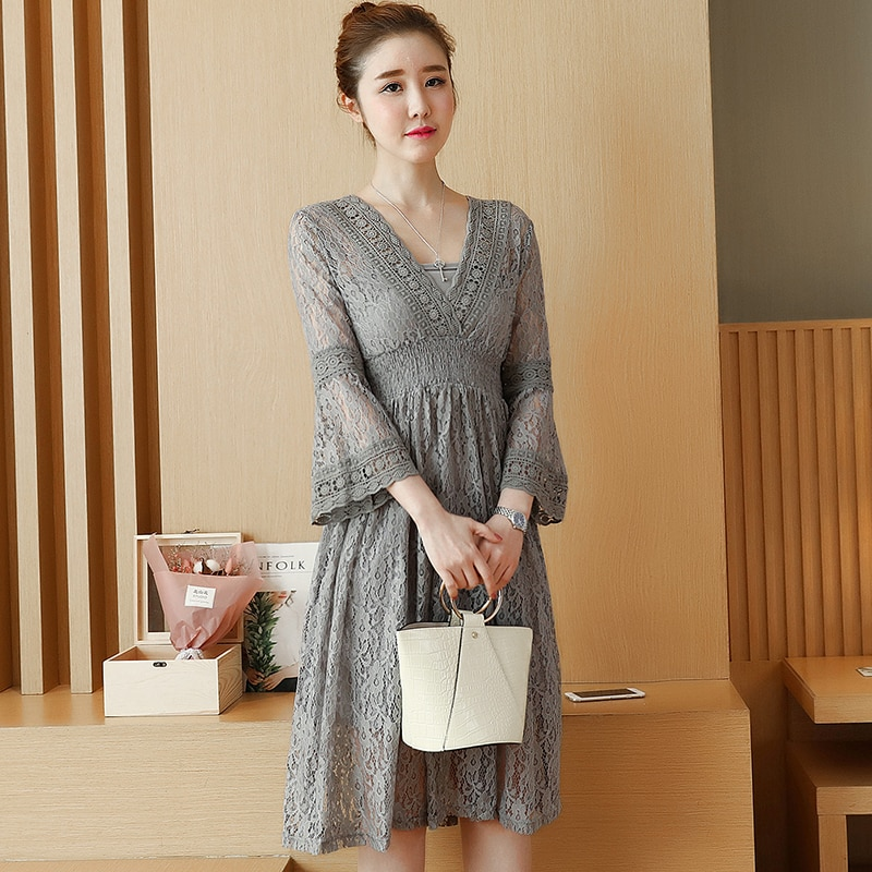 New fashion Pregnancy wear spring clothes Hollow out of bud silk dress Sweet maternity dress V-neck lace dresses enlarge