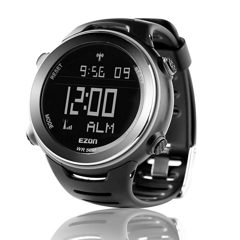 Ezon rádio onda calibrar tempo digital relógio esportivo dos homens ao ar livre casual correndo natação à prova d50 água 50m relógio de pulso montre homme