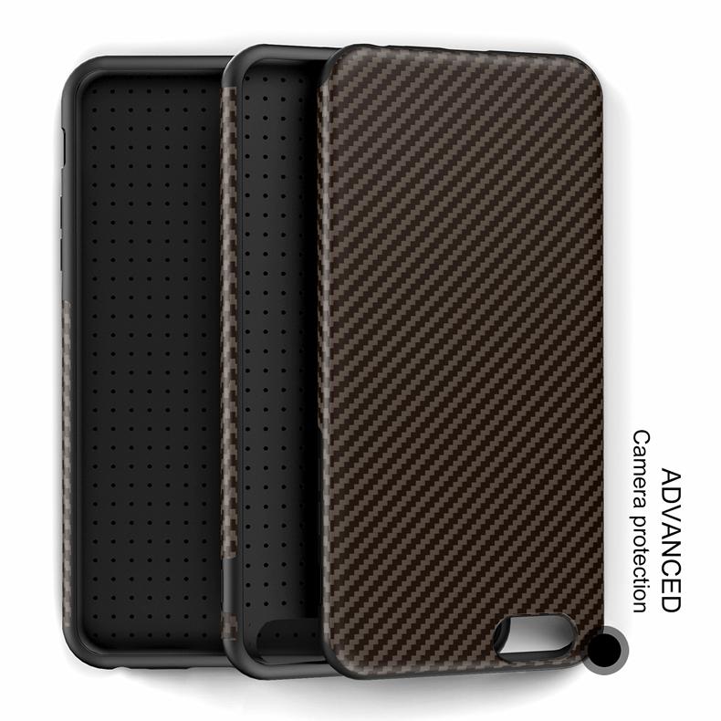 Najnowszy środowiska carbon fiber case dla iphone 6 6s plus miękkie antypoślizgowa anti-puk pokrywy dla iphone 7/plus skóra skóra torba 24