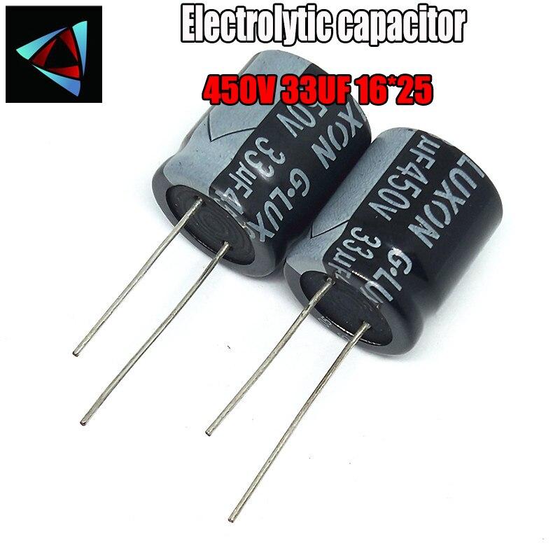 Alta calidad 450V 33UF 16*25mm 33UF 450V 16*25 condensador electrolítico