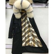 Réel manteau de fourrure longue parka naturel fourrure de renard raccon col de fourrure veste dhiver nouvelle mode chaud réel lapin doublure de fourrure parc