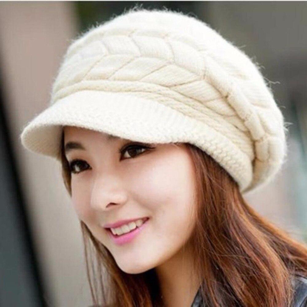 LEAYH, однотонные вязаные шапки из кроличьей шерсти, вязаные шапки Skullies, женские зимние теплые шапки с ушками, Снэпбэк, матовый козырек