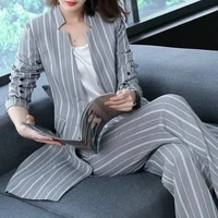 2018 spring office lady long trench coat striped coat jacket and wide pants suit womens fashion two pieces set