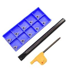 1 pçs s10k stfcr11 + 10 pçs tcmt110204 tcmt110205 hp1025 cnc ferramenta de inserção de carboneto ferramenta titular torno torneamento lâmina