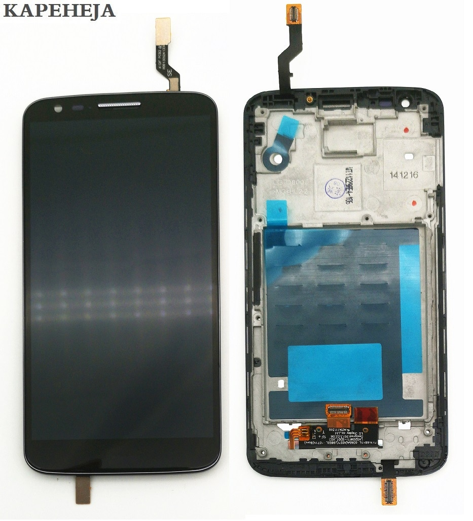 شاشة LCD مقاس 5.2 بوصة لهاتف LG G2 D802 ، حامل محول رقمي لشاشة تعمل باللمس بإطار 12% ، خصم 5 قطع أو أكثر