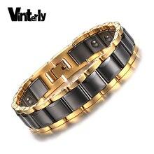 Vinterly Hematite Bracelet for Men Health Energy Black Gold Color Ceramic Bracelets Bangles Men Hand Chain Link Jewelry