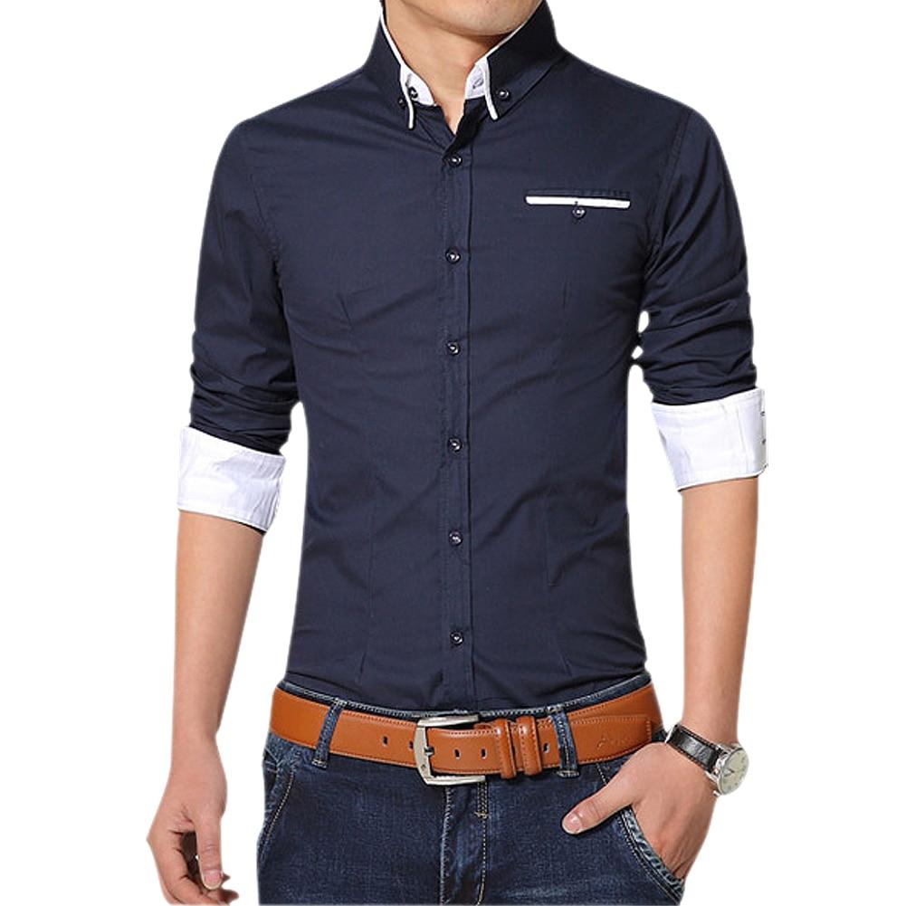 2016 Новый Для мужчин рубашки с длинным рукавом нагрудные Повседневная рубашка Slim