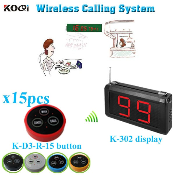 Restaurant Wireless Paging System Hot Sell Restaurant Equipment With Display And Call Buzzer (1 display+ 15 table bell button)