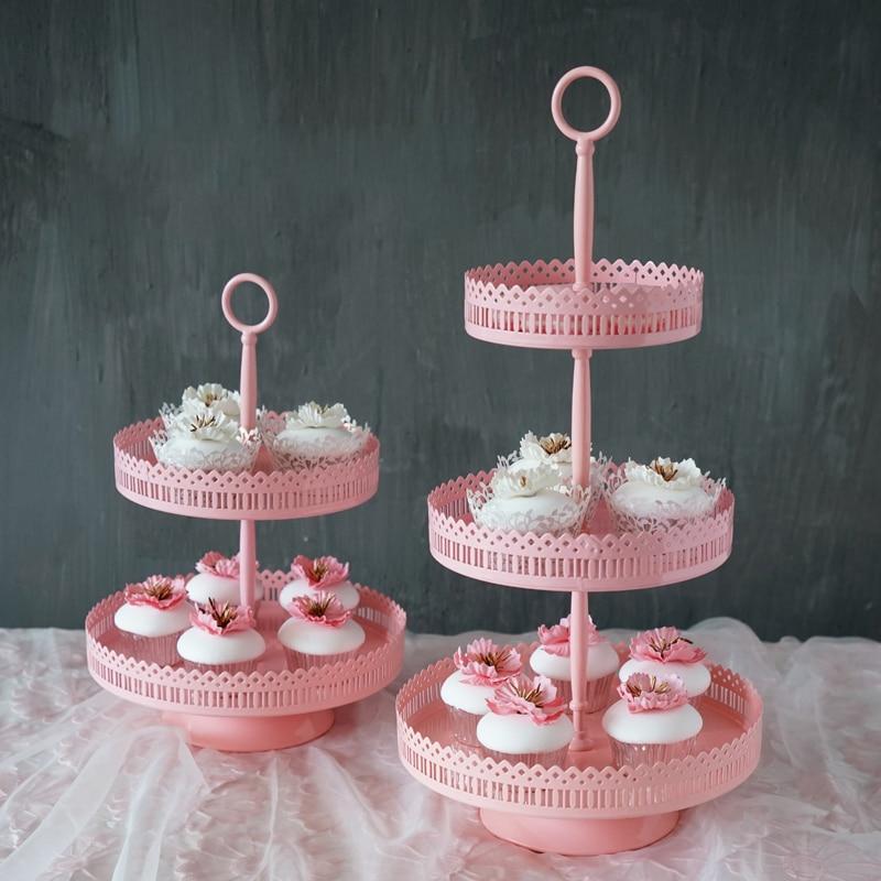 SWEETGO 3 niveles de soporte de hierro rosa soporte de metal para pastel herramientas para mesa de postre barra de caramelo de provisiones para fiesta decoración de la boda