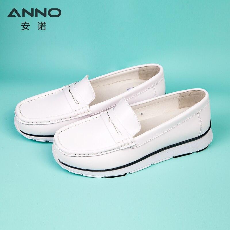 Zapatos de enfermera clásicos de cuero blanco, Ropa de Trabajo antideslizante de seguridad con parte inferior plana para Hospital Unisex
